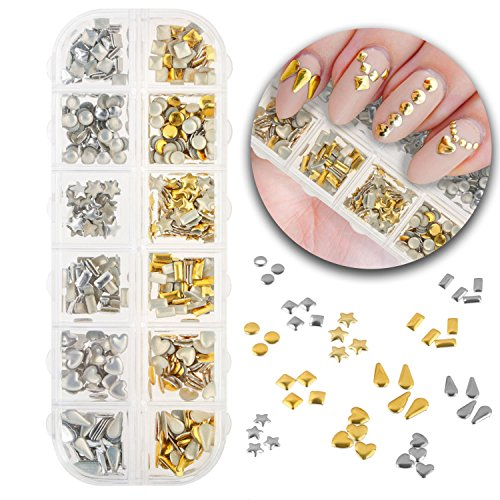- 3D Nail Art Manicure Designs Box Case With 600pcs Metal Studs Rivets Decorations In 6 Different Shapes Forms, Silver and Gold Golden Colors