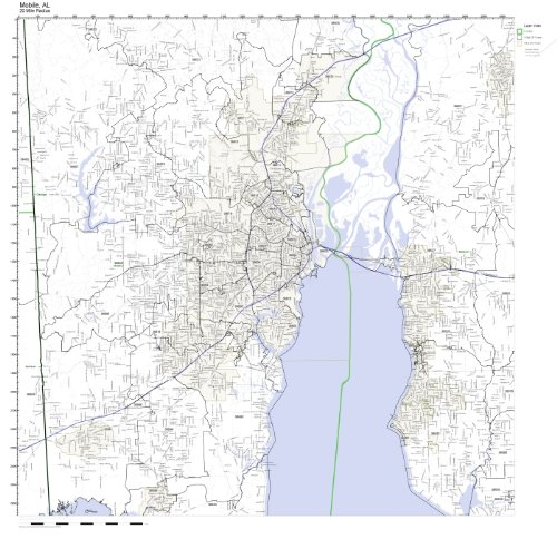 Mobile County Zip Code Map.Amazon Com Mobile Al Zip Code Map Not Laminated Home Kitchen