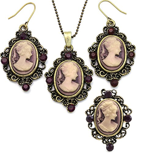 Soulbreezecollection Purple Cameo Set Necklace Pendant Ring Dangle Drop Earrings Fashion Jewelry
