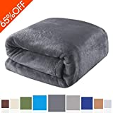 """Luxury Polar Flannel Throw Blankets Bed Blanket 100% Plush Microfiber(Warm/Cozy/Fluffy), Lightweight and Easy Care, Couch Blanket, 50""""x61"""" Twin Queen King (Dark Grey, 50""""x61"""")"""