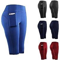 Kloius Pantalones Cortos de Yoga elásticos Casuales de Cintura elástica de Secado rápido para Mujer con Bolsillo Pantalones Cortos