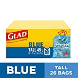 Glad Blue Recycling Bags - Tall 45 Litres - ForceFlex, Drawstring, 26 Trash Bags