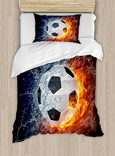 Sports Decor Duvet Cover Set by Ambesonne, Soccer Ball on Fire and Water Flame Splashing Thunder Lightning Abstract, 2 Piece Bedding Set with 1 Pillow Sham, Twin / Twin XL Size by Ambesonne