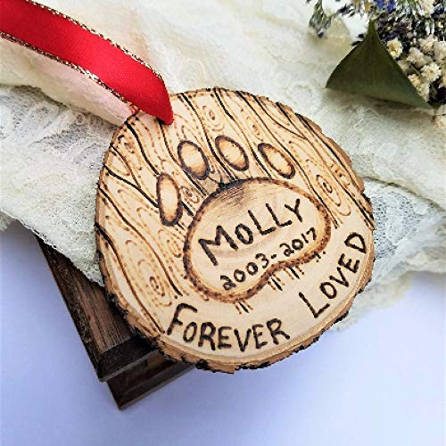 (pet memorial ornament - customizable personalizable memorial - dog cat keepsake - pet loss gift - wooden christmas ornament)