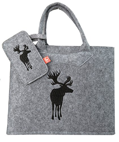Witzgall Filztasche grau mit Elch braun und Handytasche 38x20x30 cm Trachtentasche