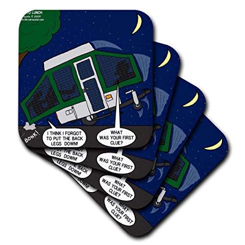 3dRose CST_4513_1 Pop-Up Camper Set-Up Problems Soft Coasters, (Set of 4)