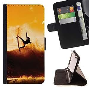 - Sunset Surf Surfer Cool Wave - - Prima caja de la PU billetera de cuero con ranuras para tarjetas, efectivo desmontable correa para l Funny HouseFOR Sony Xperia M2