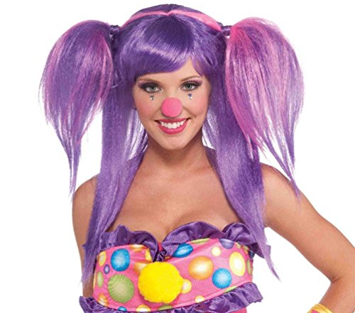 Circus Sweetie Berry Bubble Clown Wig Purple Pink Costume Accessory Pigtails