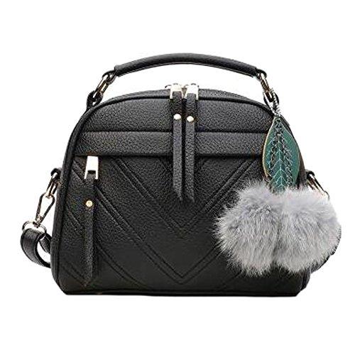 Para mujer de moda PU bolso bandolera bolsa monedero de cuero, negro