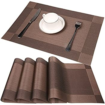 Famibay PVC Place Mats   Heat Insulation PVC Placemats Stain Resistant  Woven Vinyl Table Mats