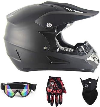Motocross Rennhelm Fahrradhelm Vier Jahreszeiten universal Motorradhelm Handschuhe, Brille, Maske, 4-teiliger Satz