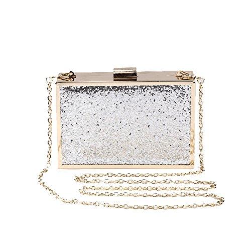 Women's Evening Clasp Silver Clip Shiny Bling Wedding Clutch Square Purse Crossbody Bag Glitter Party qRrwHRxY