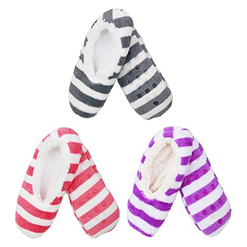 3 Pairs Adult Size Large Super Soft Warm Cozy Fuzzy Slippers Non-Slip Lined Socks, Assortment N13 by BambooMN