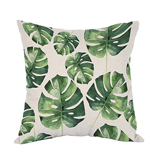 Moslion Palm Pillow,Home Decor Throw Pillow Cover Tropical Hawaii Leaves Palm Tree Cotton Linen Cushion for Couch/Sofa/Bedroom/Livingroom/Kitchen/Car 18 x 18 inch Square Pillow case (Tree Pattern Palm)
