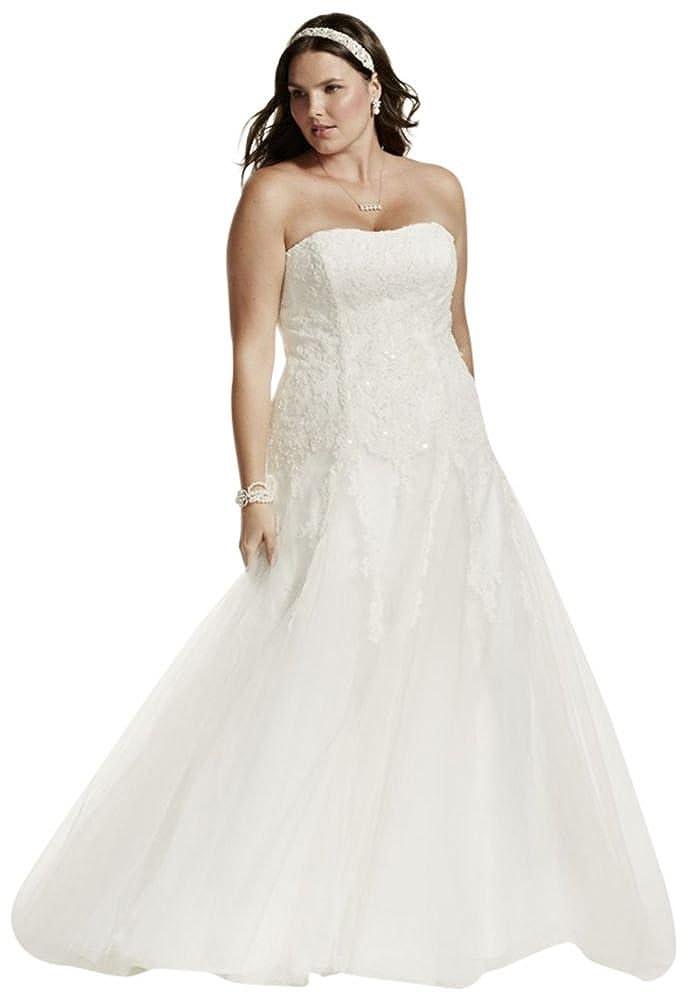 A-Line Beaded Tulle Plus Size Wedding Dress Style 9V3469, Ivory, 24W ...