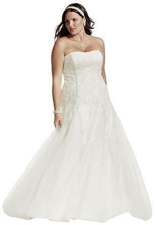 David S Bridal A Line Beaded Tulle Plus Size Wedding Dress
