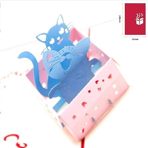 BC Worldwide Ltd Tarjeta pop-up 3D hecha a mano dos gatos ...
