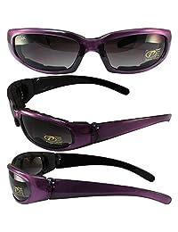 Pacific Coast anteojos de sol Chix Rally acolchado motocicleta anteojos de sol púrpura translúcido/Negro Marcos Gradient lente de humo