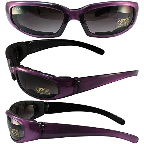 Pacific Coast Sunglasses Chix Rally Padded Motorcycle Sunglasses Translucent Purple/Black Frames Gradient Smoke Lens