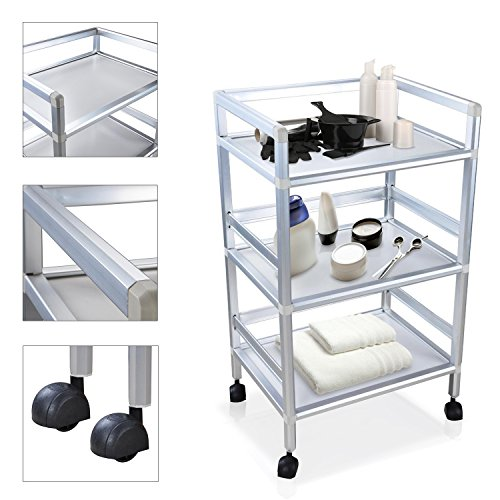 Koval Inc. 3-Tier Rolling Trolley Cart Facial Salon Beauty Storage (Silver 3-Tier Cart) (Pedi Cart)