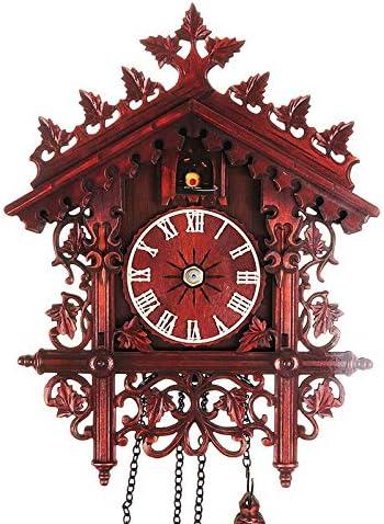 IYSHOUGONG 1 Pcs Wood Cuckoo Clock,Handcrafted Wood Cuckoo Clock,Vintage Cuckoo Wall Clock House Hanging Cuckoo Wall Clock for Bedroom Living Room School Office Decoration