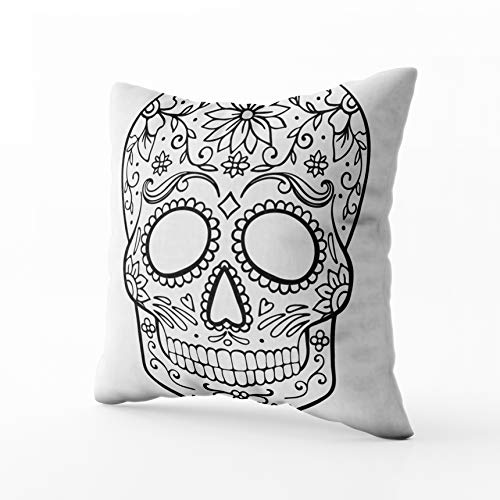 (Musesh Holiday Throw Pillows, Sugar Skull Coloring Page for Sofa Home Decorative Pillowcase 18X18Inch Pillow)
