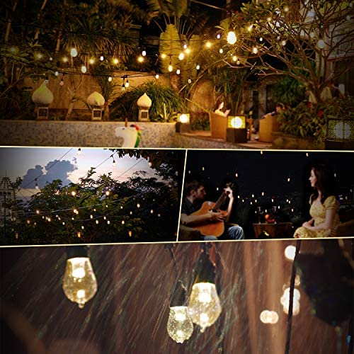 Outdoor String Lights 2 Pack – 49x2 Ft LED Patio Lights, Smart White String Lights via 2.4G Wi-Fi App & Alexa, 15x2 Bulbs Dimmable Patio String Lights Outdoor, Waterproof & Shockproof LED String Lights