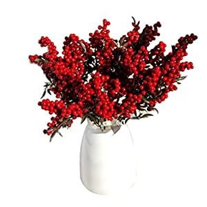 CYCTECH® Artificial Flowers Auspicious Christmas Fruits Rich Fruit Home Decor Plant Berries 5 Bouquet Per Set 37