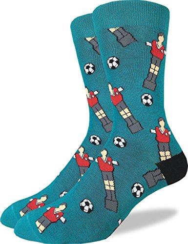 (Good Luck Sock Men's Soccer Foosball Crew Socks - Green, Adult Shoe Size 7-12 )