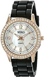 XOXO Women's XO8036 Black Bumpy Silicone Rubber Strap Watch