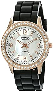 Xoxo women 39 s xo8036 black bumpy silicone rubber strap watch watches for Watches xoxo