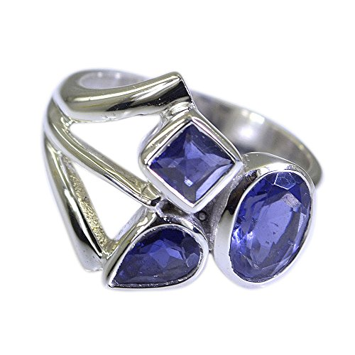 55Carat Natural Gemstone Mixed Shape Iolite Ring Silver For Women In Size US (Mixed Gem Ring)