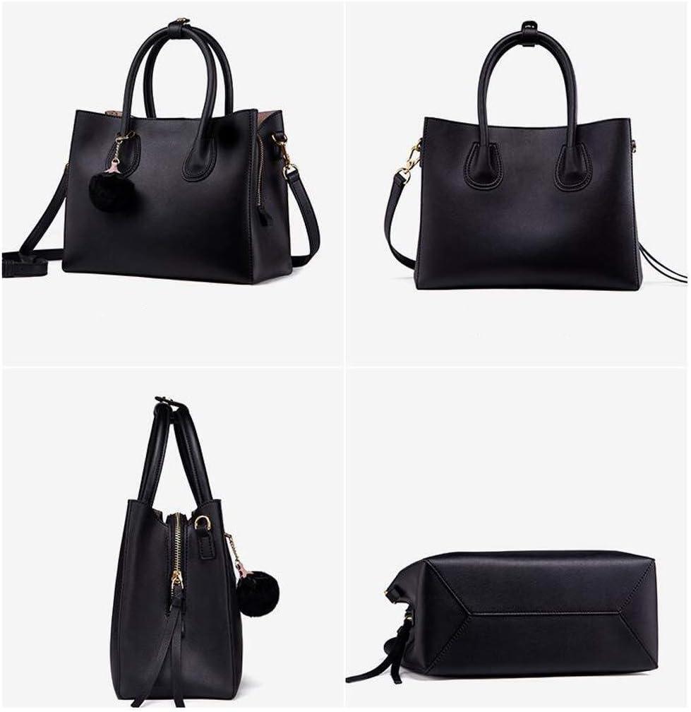 LXDDJsl Borsa Donna Versione Coreana della Pelle Bovina Materiale Borsa delle Nuove Donne di Borsa a Tracolla Diagonale Borse Tote (Color : Gray) Black