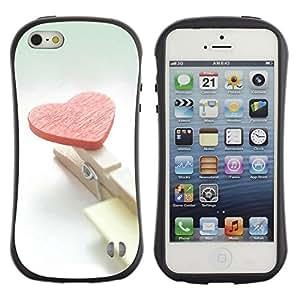 Suave TPU GEL Carcasa Funda Silicona Blando Estuche Caso de protección (para) Apple Iphone 5 / 5S / CECELL Phone case / / Heart and clips /