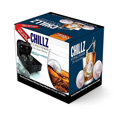 Chillz Ice Ball Maker - 2 Black Flexible Silicone Ice Trays - Mold 8 X 4.5cm Round Ice Ball Spheres (2 Pack) by The Classic Kitchen (Image #1)