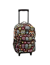 ROCKLAND 17 Inch Rolling Backpack, Owl, One Size