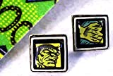 .75 inch Sterling Silver Plated Bezel Set Superhero Comic Book Cufflinks The Incredible Hulk Pop Culture Recycled Comic Book Jewelry
