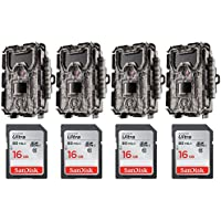 Bushnell 24MP Trophy Cam HD No Glow Trail Camera with Color Viewer (Camo, 4-Pack) with Four 16GB Memory Cards