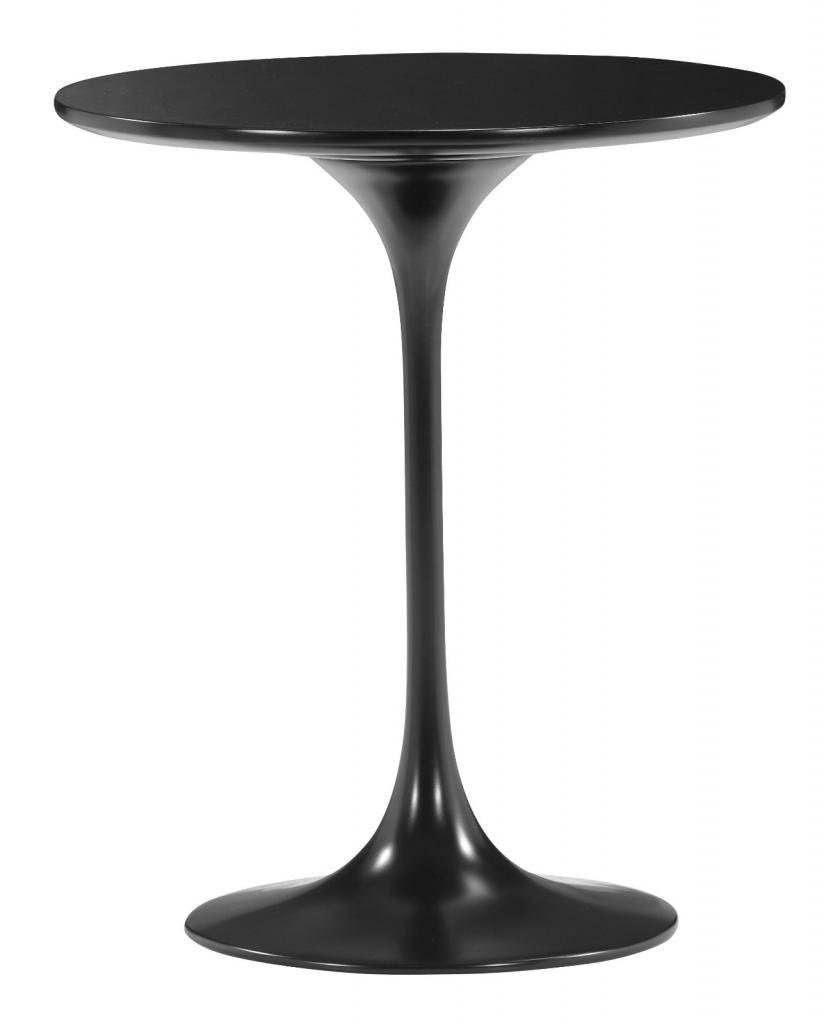 Glossy Black Pedestal Side Table by America Luxury - Tables