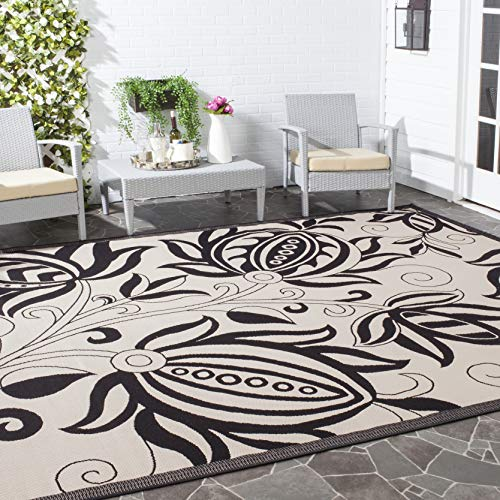 Safavieh Courtyard Collection CY2961-3908 Black and Sand Indoor/ Outdoor Area Rug (6'7