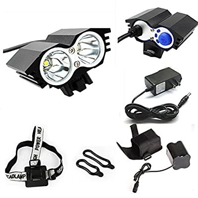 ETpower® 5000 Lumens XM-L U2 LED Bicycle Light & 6400mAh Battery Pack & Charger , 4 Modes Waterproof LED Bike Lmap headLight Super Bright Lighting Lamp for Outdoor Sports Like Cmaping Hiking(BLACK)