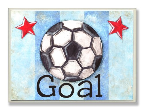 The Kids Room by Stupell Goal Soccer Ball With Blue Stripes Rectangle Wall Plaque, 11 x 0.5 x 15, Proudly Made in USA