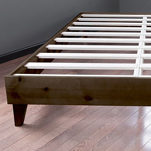 eLuxurySupply Wood Bed Frame - Made in The USA w/100% North American Pine - Solid Mattress Platform Foundation w/Pressed Pine Slats - Tool-Free Assembly - Twin XL