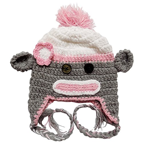 Crochet Cupcake Hat - Stretchy Crochet Animal, Bug, Football, Cupcake Hat For Baby/Toddler - One Size (Sock Monkey - Pink & Gray)