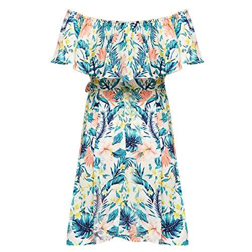 (Women Ladies Summer Boho Flower Boat Neck Ruffle Evening Cocktail Party Beach Casual Short Mini Dress (Color : XL))