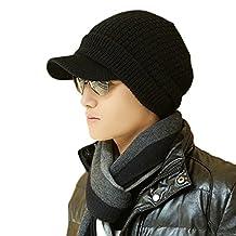 SIGGI Unisex Winter Wool Knit Cable Cuff Visor Beanie Hat Multi-Colors 56-61cm
