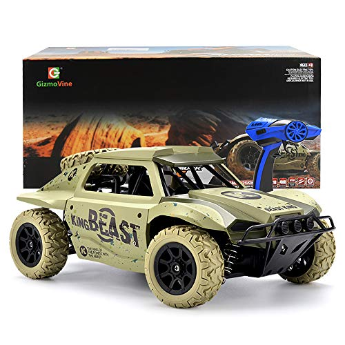 Gizmovine RC Cars 1/18 Scale 4WD High Speed Vehicle 15.5Mph+ 2.4Ghz Radio Remote Control Off Road Racing Monster Trucks Fast Electric Race Desert Power (Khaki) ()