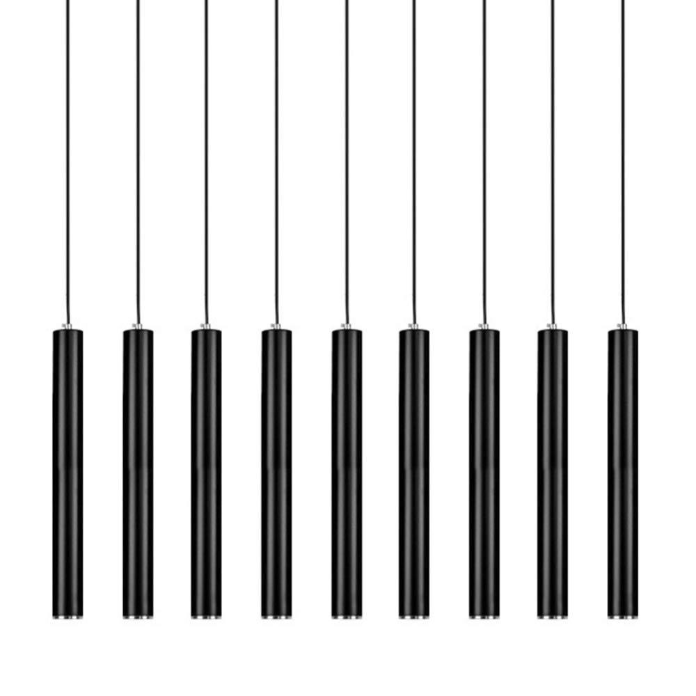 NHX Deckenleuchten Einfache Aluminium Pendelleuchte Modern Creative Einstellbare Lange Rohr Zylinder Deckenleuchte Schwarz Kronleuchter 220V,Astigmatism-Version-(Weiß-Light) 5  28cm