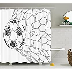 Ambesonne Sports Decor Shower Curtain Set, Soccer Ball in Net Goaly Position Sports Competition Spectators Hand Drawn Style Print, Bathroom Accessories, 75 Inches Long, Black White