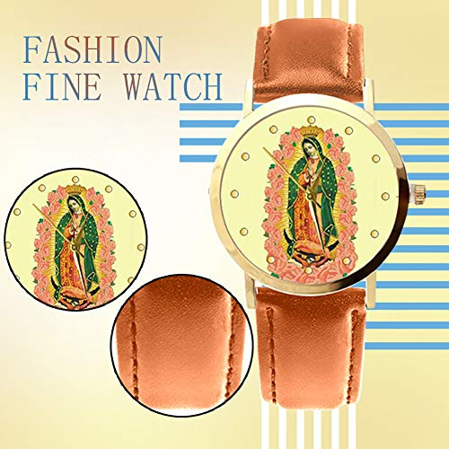 lightclub Christian Virgin Mary Flower Round Dial Faux Leather Strap Women Wristwatch - Black by lightclub (Image #8)
